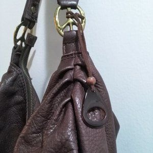 BROWN LEATHER SLOUCH HOBO BAG W/PEACE SYMBOLS